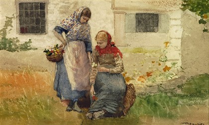 "Homer's ""Picking Flowers"" Winslow Homer (1836-1910), "" Picking Flowers,"" c. 1881, watercolor, gouache and pencil."