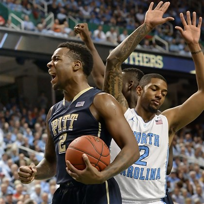 Pitt's Michael Young Pitt's Michael Young celebrates after taking a foul from North Carolina's Leslie McDonald in the second half of the quarterfinals of the ACC Tournament in Greensboro Friday afternoon.