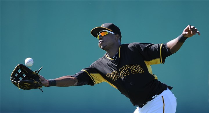 Pirates outfielder Gregory Polanco  Pirates outfielder Gregory Polanco makes a running grab on ball during afternoon workouts last month at Pirate City in Bradenton, Fla.