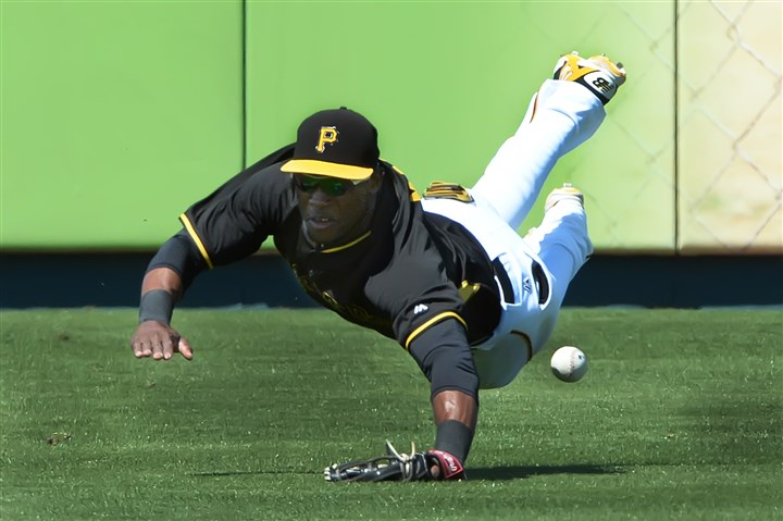 Starling Marte Pirates left fielder Starling Marte dives for ball earlier this month.