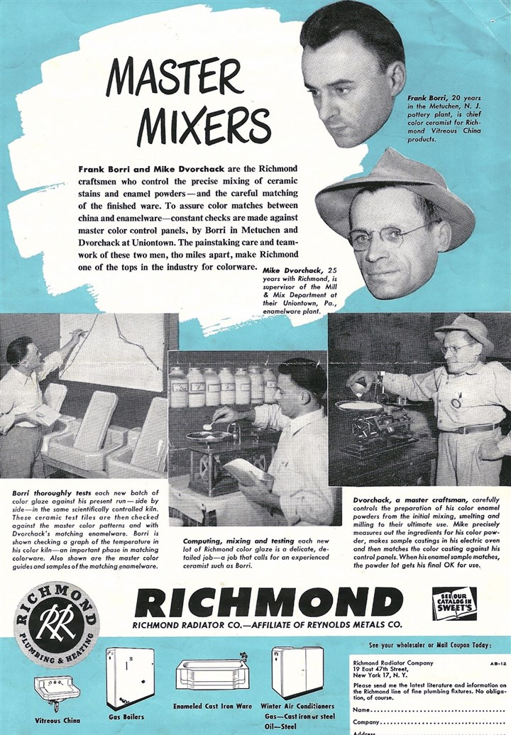 Full-page ad that Richmond Radiator placed Full-page ad that Richmond Radiator placed in six national trade publications in 1949. Mike Dvorchak Jr. bonded a white enamel coating onto bathtubs made of cast iron for Richmond.