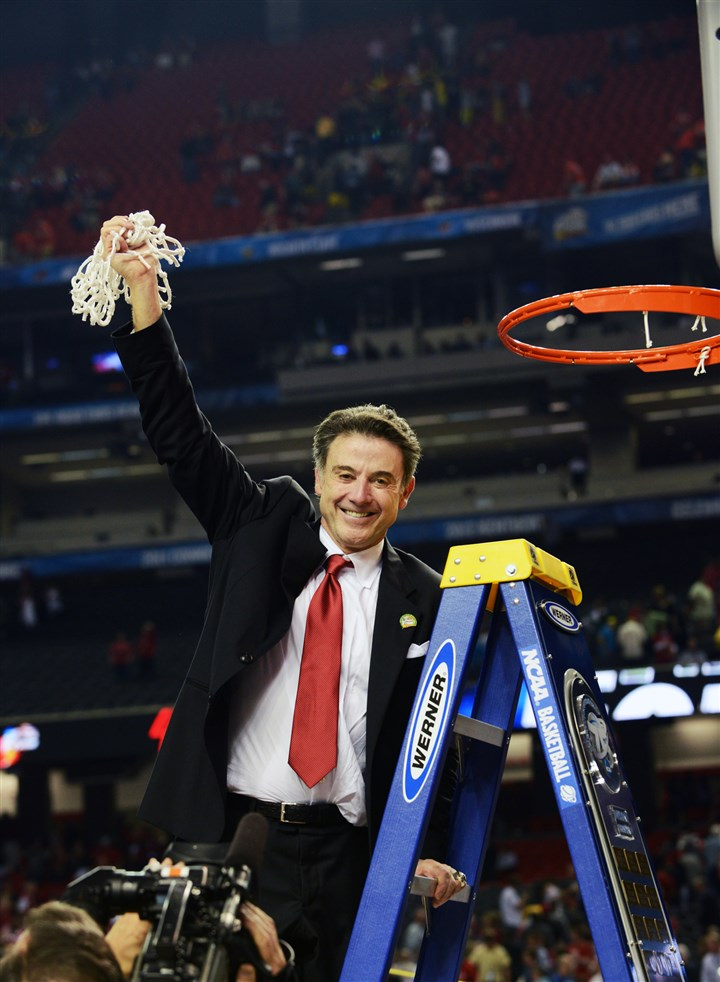 "University of Louisville basketball coach Rick Pitino University of Louisville basketball coach Rick Pitino celebrates by cutting down the net after Louisville beat the University of Michigan to win the 2013 NCAA national basketball championship. Werner Ladders, which has U.S. headquarters in Greenville, Mercer County Pa., is the ""Official Ladder of the NCAA Basketball Championship."""