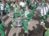 The Little Green Machine Marching Band from South Fayette High School takes part in the 2014 St. Patrick's Day Parade in Downtown Pittsburgh.