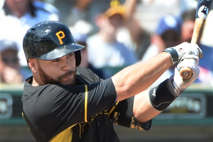 Pirates catcher Russell Martin Pirates catcher Russell Martin bats gainst the Rays Saturday afternoon at McKechnie Field in Bradenton, Fla.
