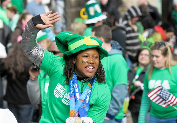 Olympic medalist Lauryn Williams Rochester's Lauryn Williams, who won a silver medal in the two-person bobsled at this winter's Sochi Olympics, and has earned medals in track and field events at past summer games, waves to the crowd as she gets a ride in the St. Patrick's Day parade in Downtown.