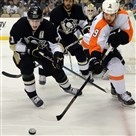 Steve Downie, show here as a member of the Philadelphia Flyers, will face his old team tonight in Pittsburgh.