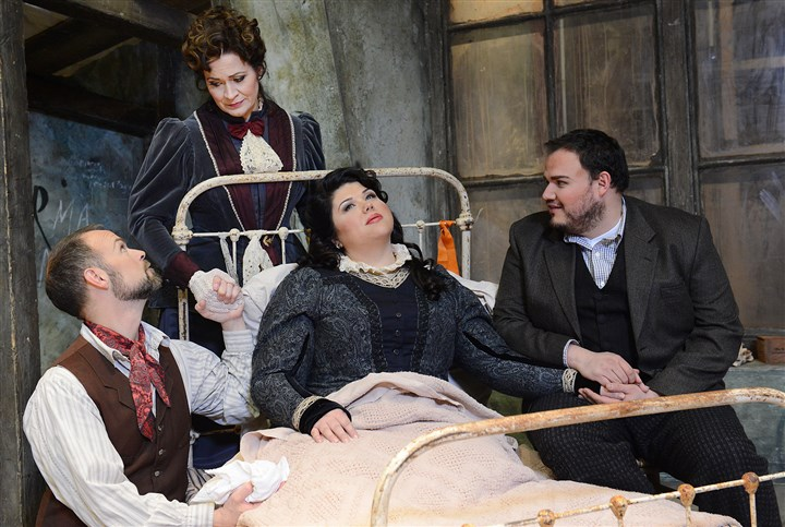 "20140317jrOperaMag1 From left, Troy Cook, Sari Grueber, Leah Crocetto and David Lomeli star in ""La Boheme"" at the Pittsburgh Opera."