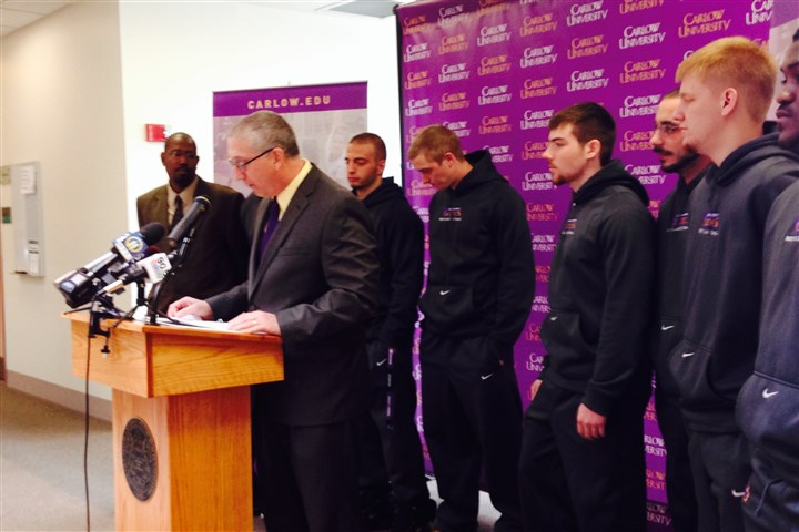 Carlow men's basketball coach Tim Keefer Newly named men's head basketball coach Tim Keefer is flanked by Carlow students who will be part of the school's first men's intercollegiate basketball team. Keefer was introduced at a news conference today announcing that Carlow's men's basketball team will begin play this fall.