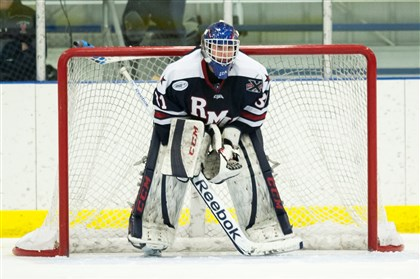 Robert Morris Colonials goalie Dalton Izyk Robert Morris Colonials goalie Dalton Izyk during a game against at UConn at the Mark Edward Freitas Ice Forum in Storrs, CT.