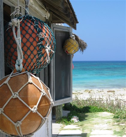 A beach hut on the island of Eleuthera.