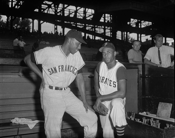 Willie McCovey and Roberto Clemente Willie McCovey of the San Francisco Giants with Pittsburgh Pirates right fielder Roberto Clemente at Forbes Field circa 1960.