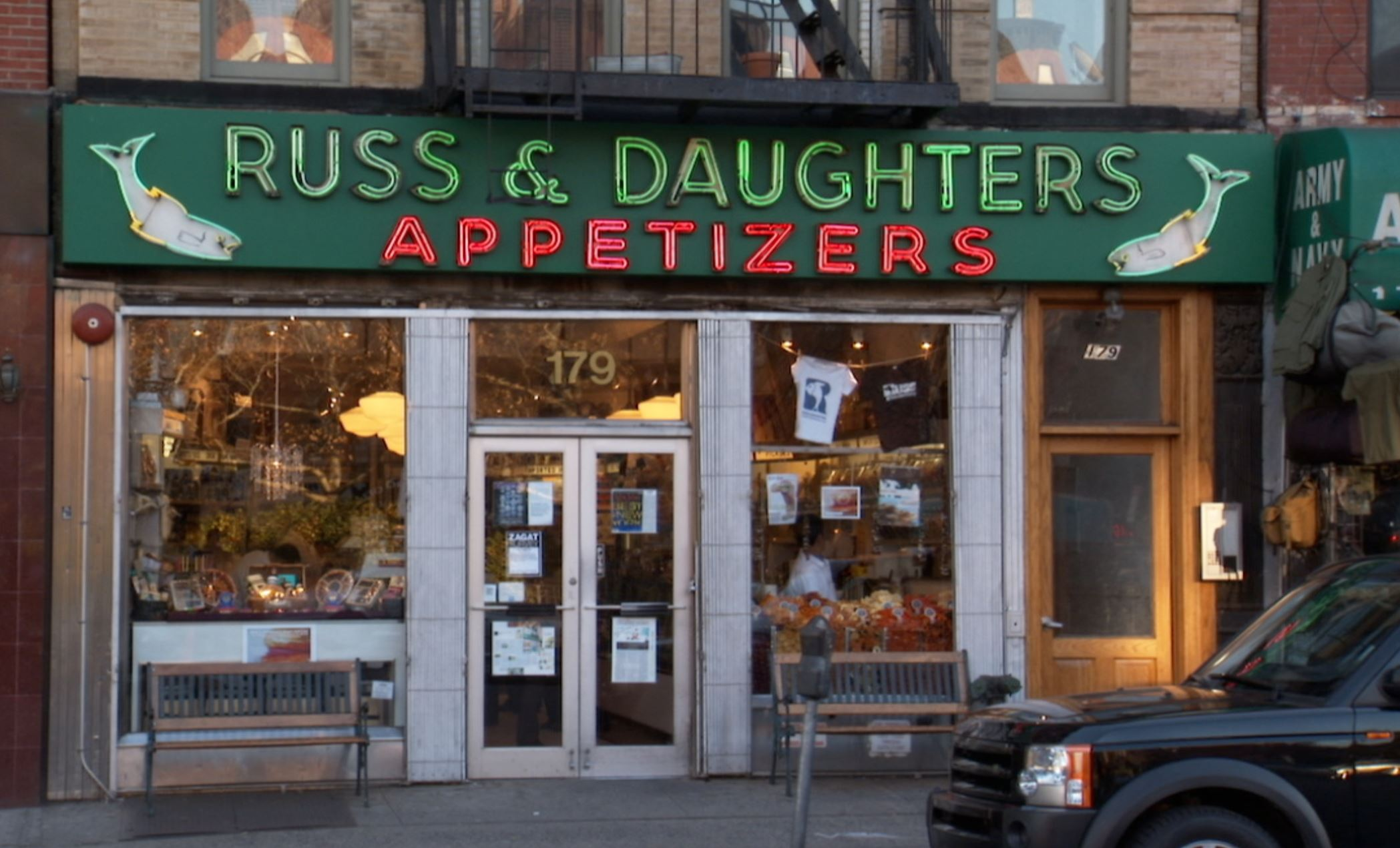 "20140318hoSturgeonfood The storefront of Russ & Daughters in New York City, subject of the Jewish Film Festival film, ""The Sturgeon Queens."