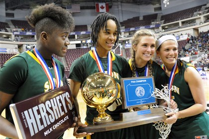 Seton-LaSalle wins the girls class AA state championship Seton-LaSalle wins the girls class AA state championship at the Giant Center in Hershey. From left, Yacine Diop Naje Gibson, Cassidy Walsh and Nicolete Newman show off their trophy after the 58-50 win over Neumann-Goretti.