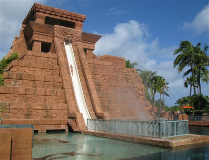 "The Leap of Faith ride at Atlantis ""Mayan Temple""  The Leap of Faith ride at Atlantis ""Mayan Temple"" includes a brief enclosed ride through a shark pool."