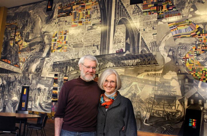 Doug Cooper and his wife Stefani Danes Doug Cooper and his wife Stefani Danes with their mural in the Community House.