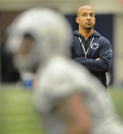 James Franklin watches his players James Franklin watches his players during the first day of spring practice in University Park.T