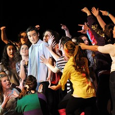 "Footloose Senior Greg Campbell is surrounded while playing Ren McCormack in Mars Area High School's performance of ""Footloose"" during opening night last Friday."