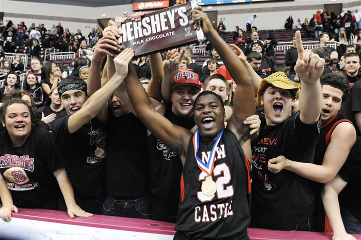 newcastle0323 New Castle's Stew Allen celebrates with fans after helping the team cap an undefeated season with a PIAA Class AAAA championship Saturday night in Hershey, Pa.