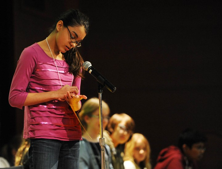20140322MWHspellingLocal02-1 Jaya Alagar, who is home-schooled, uses her hand to envision the spelling of a word during during the final round of the 64th annual Western Pennsylvania Spelling Bee at Children's Hospital of Pittsburgh of UPMC in Lawrenceville on Saturday.