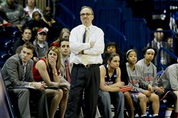 Coach Sal Buscaglia and Robert Morris finished 17-14 and were third in the Northeast Conference in the regular season.