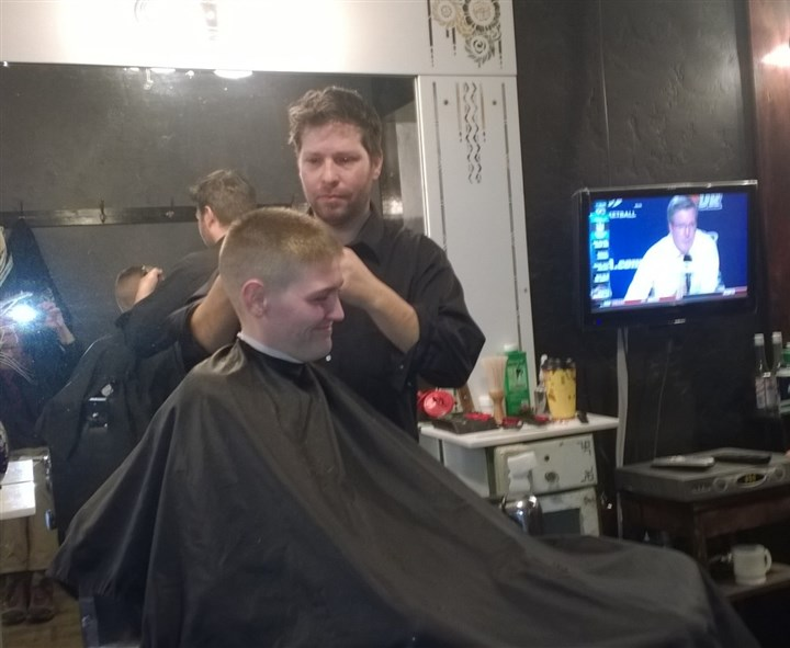 Lincoln Barbershop in Bellevue Aaron Stubna, owner of the Lincoln Barbershop in Bellevue, is cutting the hair of Jay Hannan of Bellevue, and said Shenango should be required to comply with air quality rules or be shut down.