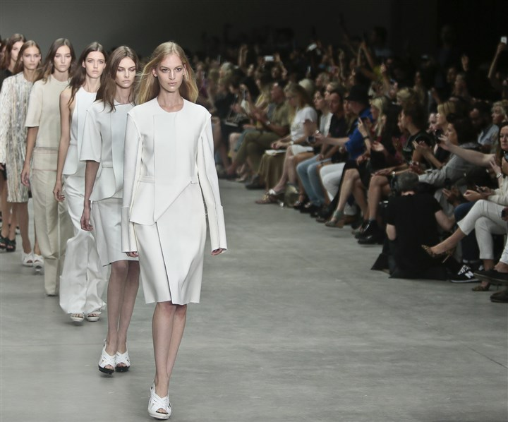 Fashion Calvin Klein Spring 2014 White out: A parade of models in all-white looks from the Calvin Klein spring 2014 collection.