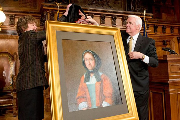 HannahCallowhilPortrait1 Gov. Tom Corbett, along with first lady Susan Corbett, unveils a portrait Sunday of Hannah Callowhill Penn that will be placed in the governor's office.
