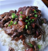 Chicken Stewed with Red Wine and Mushrooms.
