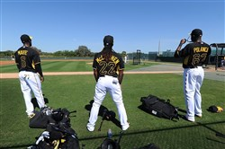 BRADENTON, Fla. — The Pittsburgh Pirates' outfield at 2014 spring training camp: Starling Marte, Andrew McCutchen and Gregory Polanco.