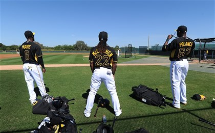 Starling Marte, Andre McCutchen and Gregory Polanco  Starling Marte, Andre McCutchen and Gregory Polanco wait for their turn in batting practice during a workout at Pirate City in Bradenton, Fla., this spring. All three are products of the Pirates' minor league system and all three are expected to be in the starting outfield at some point this season.