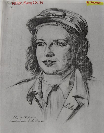 Mary Louise Weller  A photocopy of Elizabeth Black's sketch of Mary Louise Weller, a fellow American Red Cross worker serving overseas during World War II.