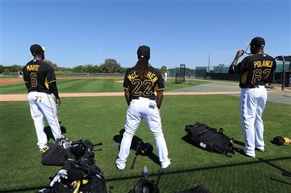 Pirates outfielders Pirates outfielders Starling Marte, Andrew McCutchen and Gregory Polanco last month at Pirate City, in Bradenton, Fla.