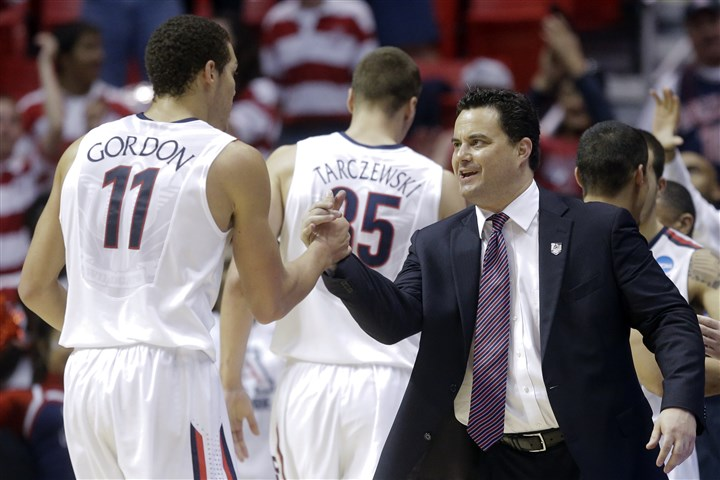 Sean Miller Arizona head coach Sean Miller, right, greets forward Aaron Gordon as he leaves the game during the second half of a third-round game in the NCAA tournament Sunday in San Diego. Arizona defeated Gonzaga, 84-61.