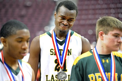 20140322JHSportsPIAA15.jpg Seton-LaSalle's Levi Masua can't hold back the tears after he and his teammates were presented with the runner-up silver medals after losing in the state title game.