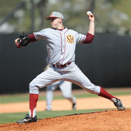 20140324hoZSPORTS02.jpg Hempfield Area graduate Alex Haines, who has a 3-2 record, gives Seton Hill a strong left-handed presence on its pitching staff.
