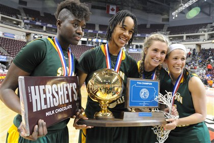 20140321JHZsportsPIAA03.jpg Seton-LaSalle defeated Neumann Goretti in the PIAA Class AA championship game at the Giant Center in Hershey. The Rebels celebrate by showing off the state championship trophy, the net and a fairly large Hershey bar. From left, Yacine Diop, left, Naje Gibson, Cassidy Walsh and Nicolete Newman.