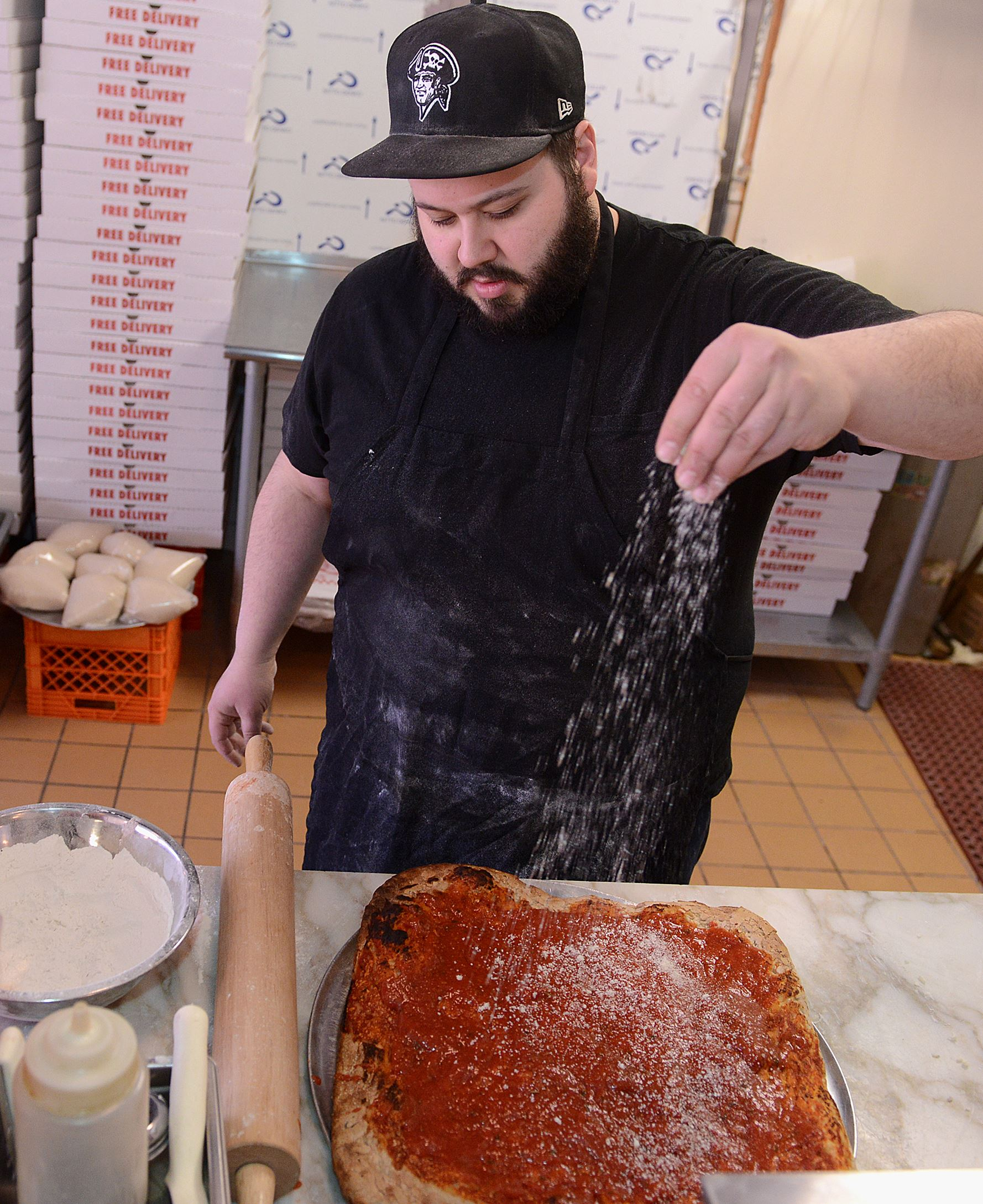 20140326radApizzaBadamoMag01 Anthony Badamo makes Sicilian pizza at A'Pizza Badamo in Mt. Lebanon.