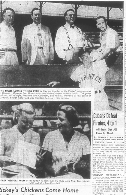 March 8, 1953 Pittsburgh Press Sports page from the March 8, 1953 Pittsburgh Press details action at the Pirates spring training camp in Cuba.