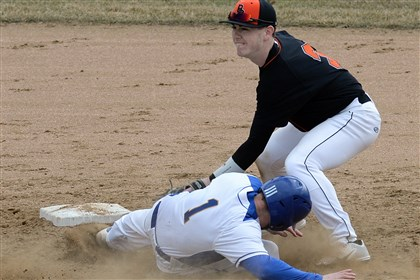 Bethel Park's Luke Hahey Bethel Park's Luke Hahey tags out Hampton's Luke Nugent at second base on Thursday, March 27, 2014, at Purkey Field in Bethel Park.