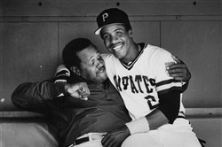 Pirates outfielder Barry Bonds with Willie Stargell in June 1987.
