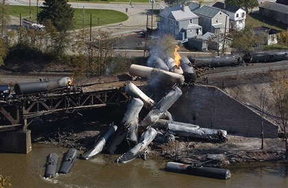 "Twenty-three tank cars carrying ethanol Twenty-three tank cars carrying ethanol derailed in New Brighton Oct. 20, 2006. The cars involved in the accident were DOT-111s, which were designed in the early 1960s to carry nonhazardous materials such as corn syrup. More and more, however, they have been used to carry cargo they are not designed or suitable to carry: explosive crude oil. ""They're Pepsi cans on wheels,"" says Fred Millar, a Washington, D.C., consultant to the rail industry."