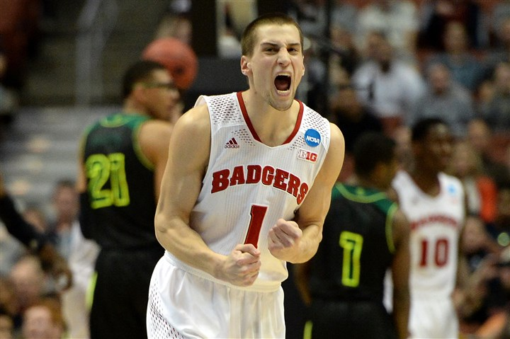 Wisconsin's Ben Brust Wisconsin's Ben Brust celebrates in the first half Thursday against Baylor in Anaheim, Calif.
