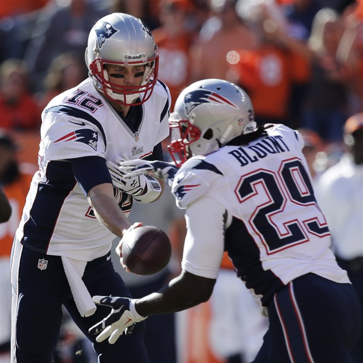 Patriots Broncos Football  New England Patriots quarterback Tom Brady hands off to running back LeGarrette Blount Jan. 19. Blount has agreed to a contract with the Steelers; he will be a backup to starter Le'Veon Bell.