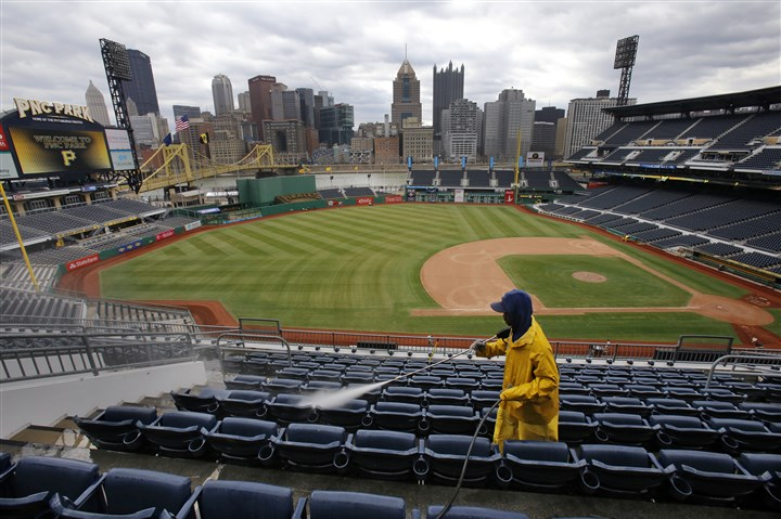 seats at PNC Park The seats at PNC Park are power-washed on Friday in preparation for today's Pirates season opener against the Cubs.