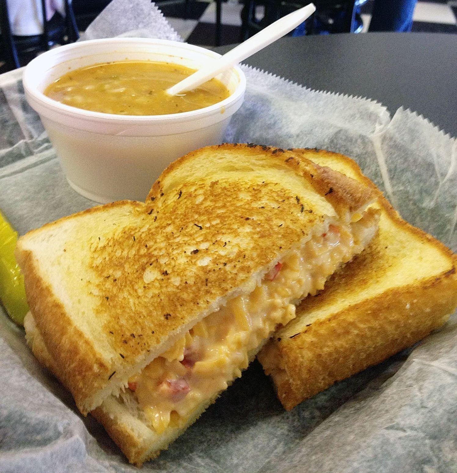 pimiento cheese sandwich from Walton Way Deli The pimiento cheese sandwich from the Walton Way Deli in Augusta, Ga., rumored to be one among many providers of sandwiches to the Masters Tournament, is flavorful with garlic pepper and a pinch of sugar.