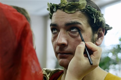 Makeup time Pilate, played by Bill Davis of Cranberry, is made-up before the performance.