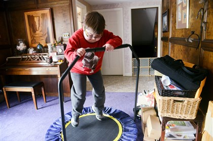 Billy Ellsworth bounces on a trampoline Billy Ellsworth bounces on a trampoline to expend some after-school energy at his Coraopolis home on Thursday. The trampoline is also therapeutic as a low-impact aerobic activity that doesn't damage the muscles. Billy is taking part in a clinical trial for eteplirsen, a drug that has not only slowed the progression of Duchenne muscular dystrophy, but also improved his symptoms.