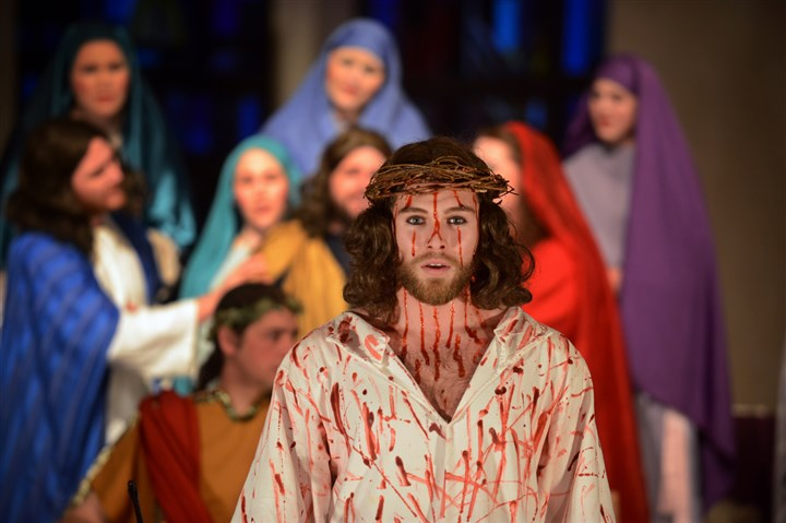 "Jesus-Passion Play Jesus Christ, played by Adam Mazza, in the Tri-County Choir Institute's presentation, ""Why Must He Die? A Passion Play,"" at St. Richard's Catholic Church."