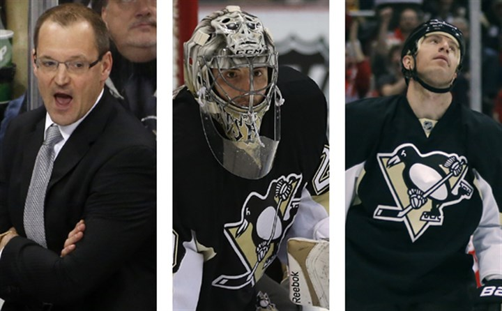The spirits of the playoff future Dan Bylsma, left, Marc-Andre Fleury, center, and Rob Scuderi.