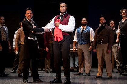 "201403331holamiserablesmag6799-2 David Toole as Marius and Donovan Smith as Enjolras, leader of the student uprising, in Pittsburgh Musical Theater's ""Les Miserables."""